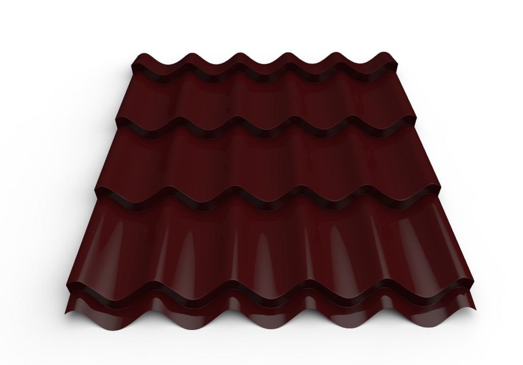 სასახურავე თუნუქის ფურცელი დაფარული საღებავით 0.45x1180 RAL 3005 (მეტალოკრამიტი)