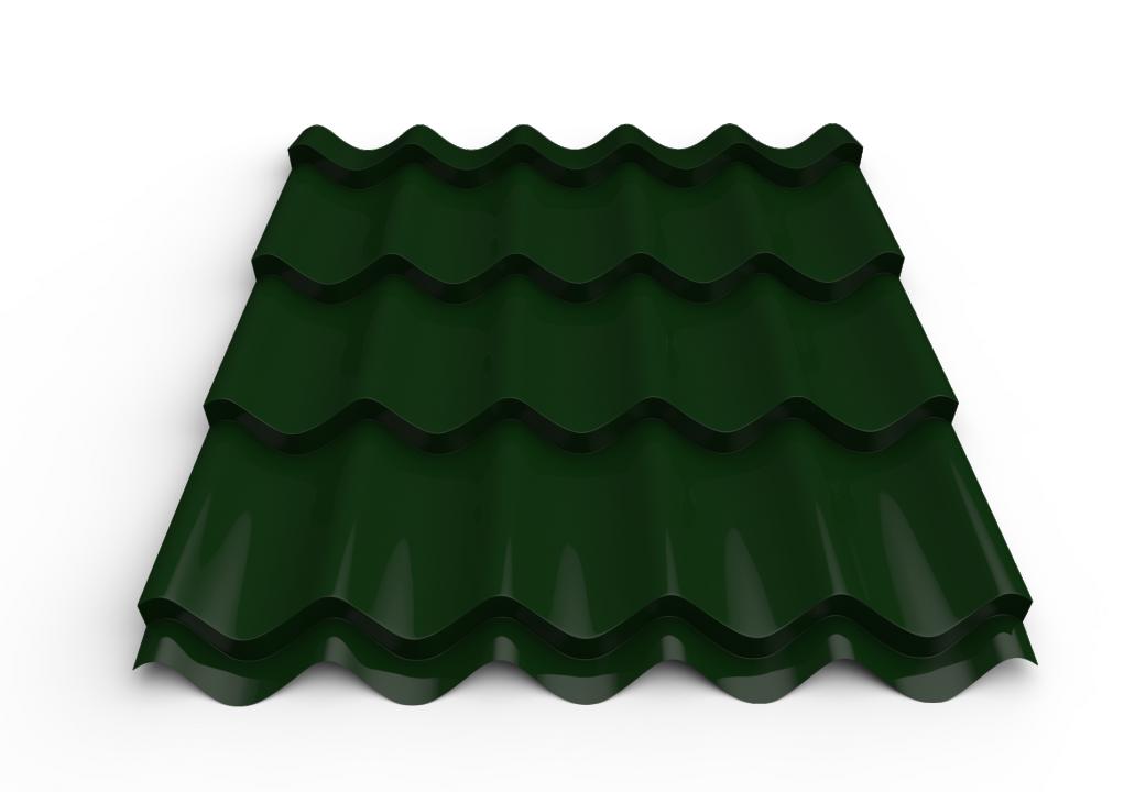 სასახურავე თუნუქის ფურცელი დაფარული საღებავით 0.45x1180 RAL 6005 (მეტალოკრამიტი)