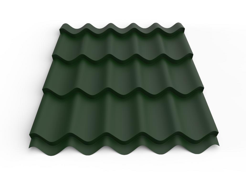 სასახურავე თუნუქის ფურცელი დაფარული საღებავით 0.50x1180 RAL 6005 ხაოიანი ზედაპირის WRINKLE (მეტალოკრამიტი)