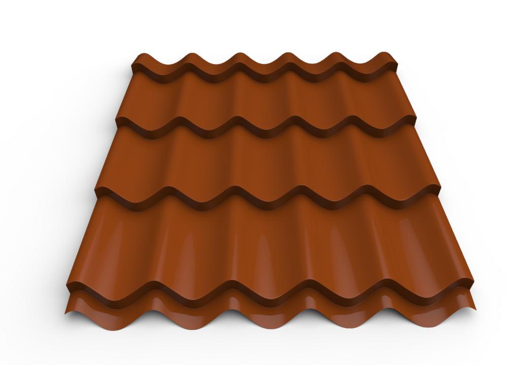 სასახურავე თუნუქის ფურცელი დაფარული საღებავით 0.50x1180 RAL 8004 (მეტალოკრამიტი)