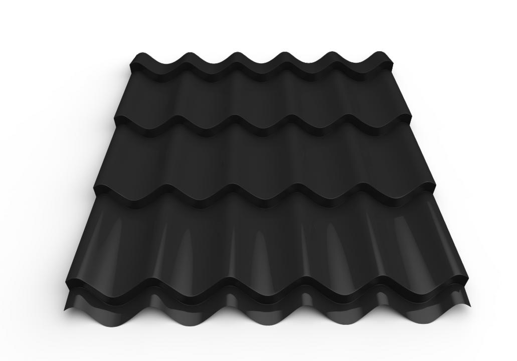 სასახურავე თუნუქის ფურცელი დაფარული საღებავით 0.50x1180 RAL 7024 (მეტალოკრამიტი)