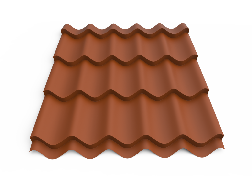 Roofing tin plate covered up with the paint0.50x1180 RAL 8004 WRINKLE (Metal tile)