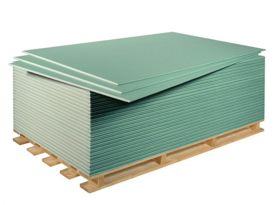 თაბაშირ-მუყაოს ფილა მწვანე 2,5მx1.2მX12.5მმ RIGIPS yesil