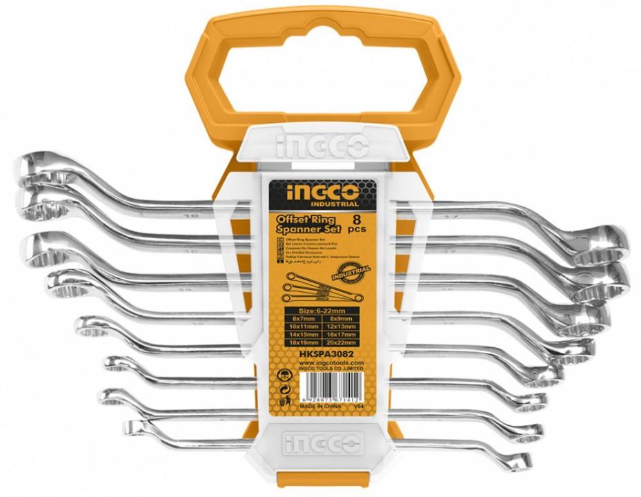 ოფსეტური რგოლის ქანჩის გასაღებების ნაკრები INGCO (HKSPA3088)